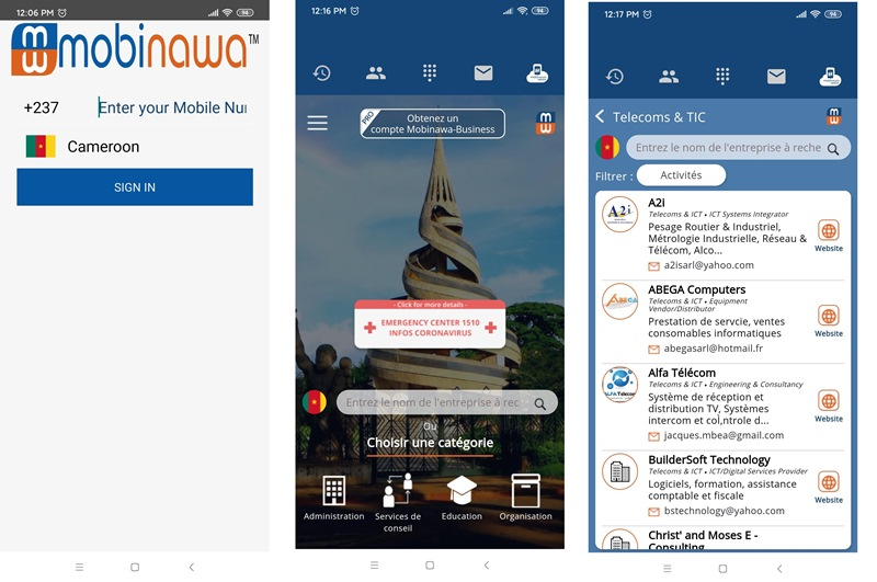 Mobinawa App Cameroon Scrrenshots