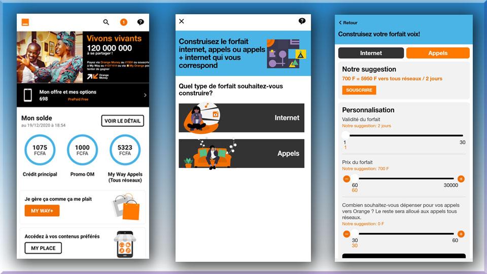 Captures d'écran Application Mobile MyOrange Cameroun MyWay+